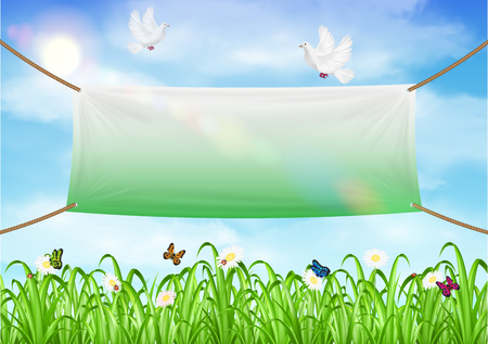 Vinyl banners backdrop with grass sky background vector illustration.