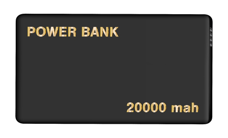 Real black power bank on isolated background.