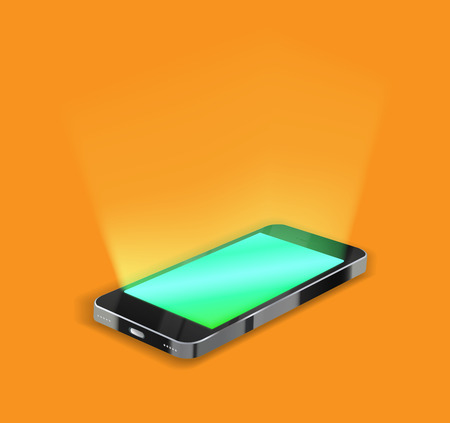 Smartphone with light screen on orange background.