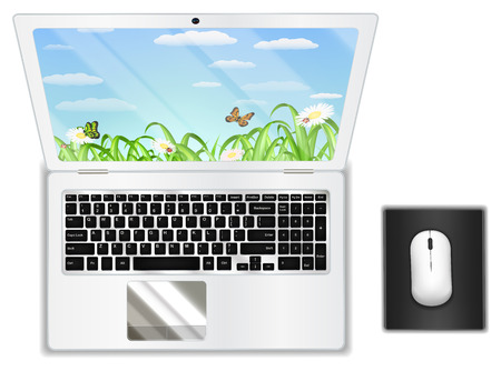 top view real white laptop computer with mouse Stock Vector - 85419315