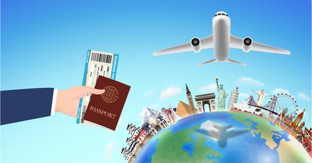 A passport boarding pass with world travel landmark Illustration