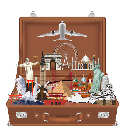A travel landmark in suitcase with airplane vector Illustration