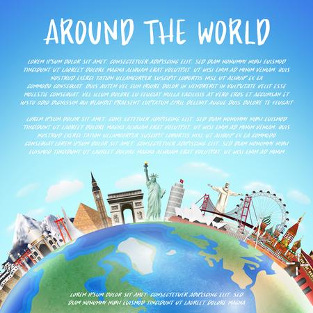 Een echte reis oriëntatiepunt rond de wereld vector Stockfoto - 86620728