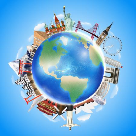 Una señal de viaje real alrededor del vector del mundo