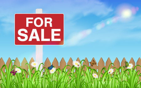 land for sale sign board with wooden fence grass Illustration