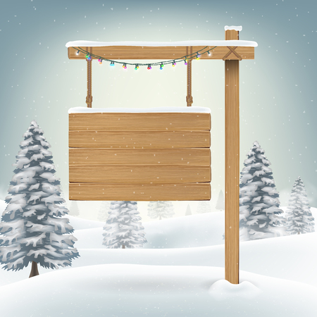 wooden post: christmas hang wood board sign in snow forest