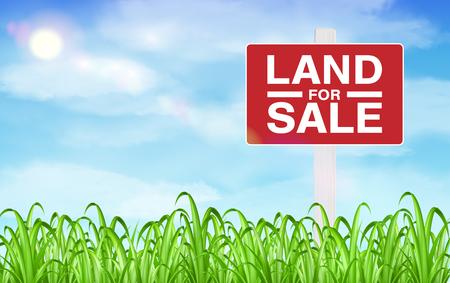 하늘 배경으로 잔디 필드에 토지 판매 기호 일러스트