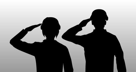 silhouette noire saluent les hommes et les femmes soldat Vecteurs