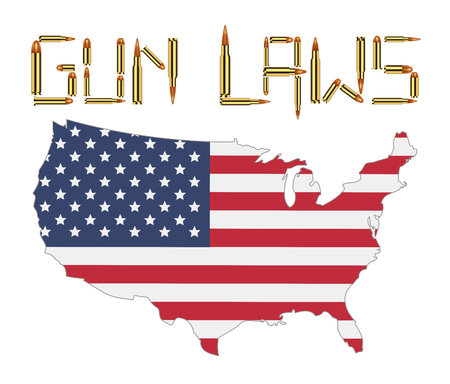 Bullet gun laws with america flag Illustration
