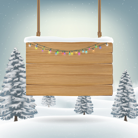 Christmas hanging wood board sign on snow Banco de Imagens - 87837859