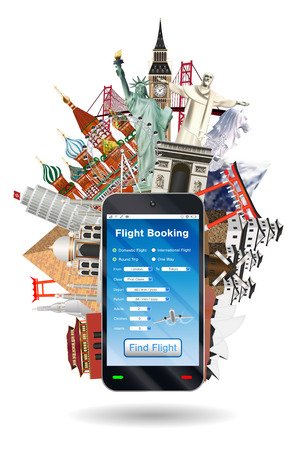 Mobile phone online flight booking with landmark