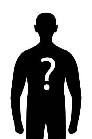 Silhouette mystery person question mark on body