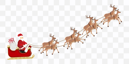 Santa Claus with a reindeer flying vector illustration.