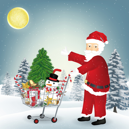 santa claus with christmas object in shopping cart
