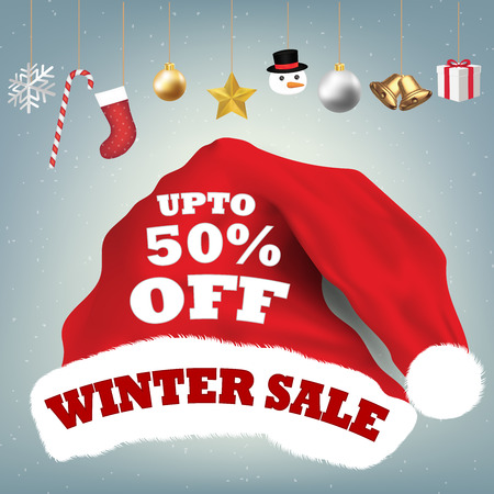santa claus hat with  winter  sale 50 percent