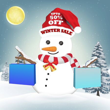 snowman with winter sale shopping paper bag Illustration