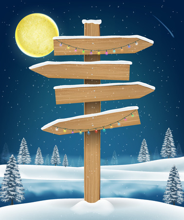 direction wood board sign on winter lake Illustration