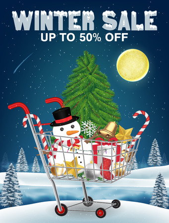 winter sale christmas decorative in shopping cart Illustration