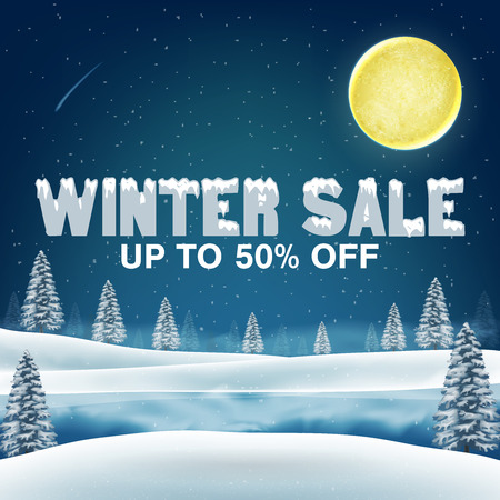 winter sale 50 percent with winter lake background