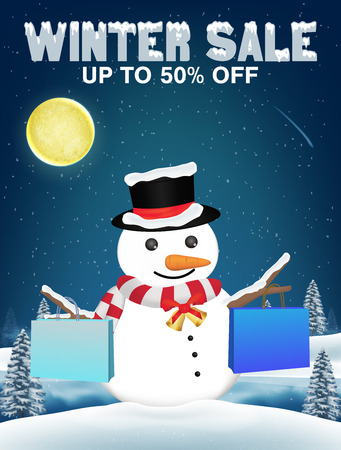 winter sale snowman shopping with paper bag Illustration