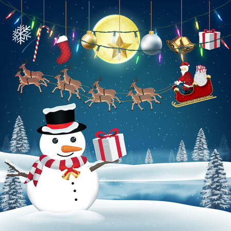 Santa claus give gift box to snow man on christmas Illustration