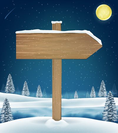 Direction wood board sign on christmas winter lake Illustration