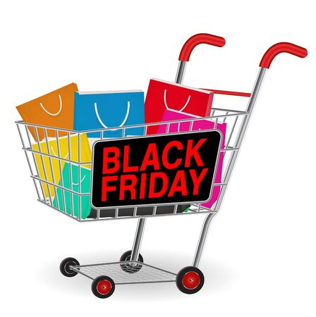 Black friday shopping paper bag on cart