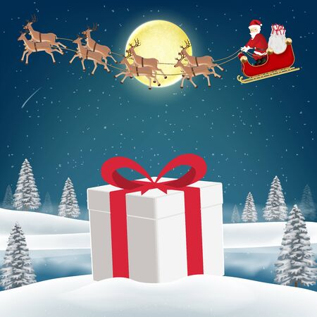 Gift box on snow with santa claus and reindeer Illustration