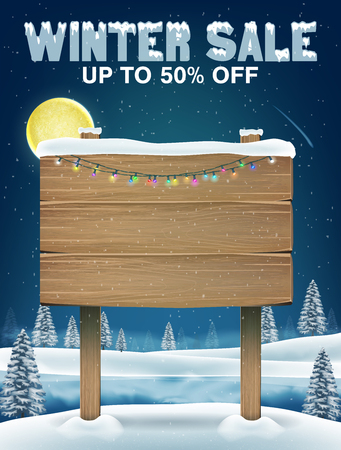 Winter sale with wood board sign on winter lake Illustration