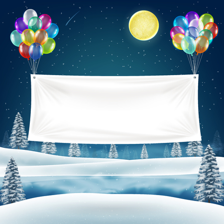 Vinyl banner with balloons on night christmas lake Illustration
