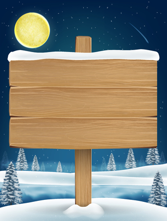 Wood board sigh on night christmas winter lake Illustration