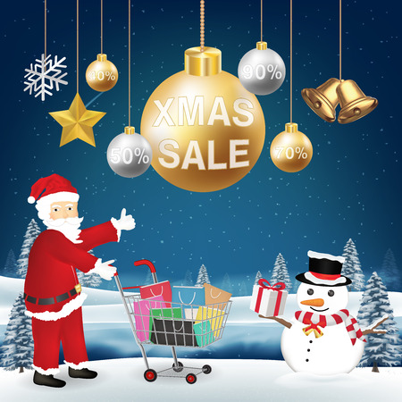Christmas sale decorative with Santa Claus and snowman. Illustration