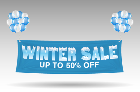 floating winter sale discount banner with balloons, vector illustration.