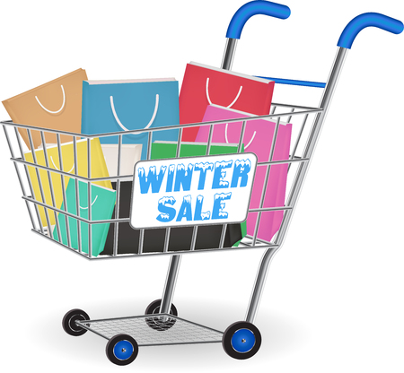 Winter sale shopping paper bag on cart, vector illustration.