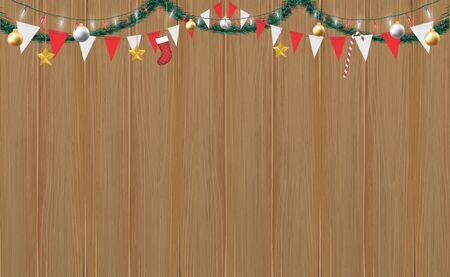 Christmas hang decorative on wood board background, vector illustration. Illustration