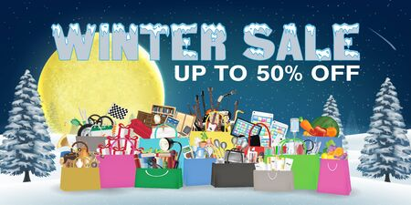 Winter sale with general object in shopping bag, vector illustration.