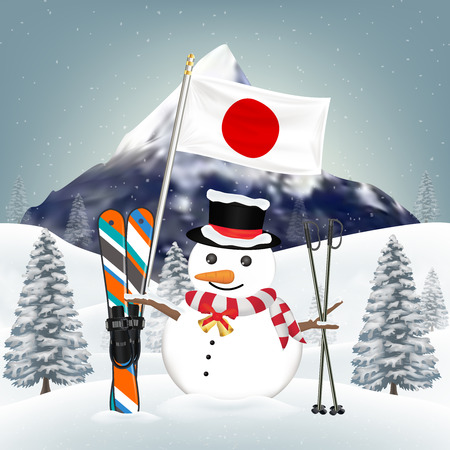 snowman and ski equipments at japan winter hill