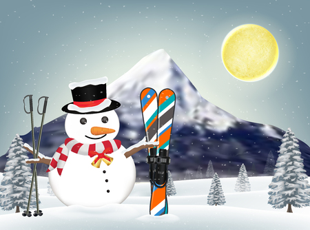 snowman and ski equipments at winter hill