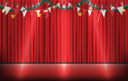 christmas decorative hanging on red curtain stage