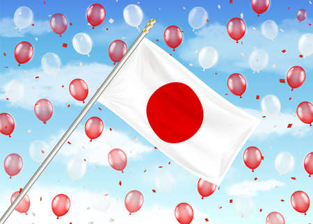japan flag on sky with red and white balloons
