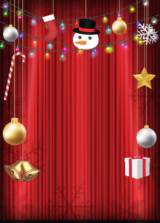 Christmas decorative object hang on red curtain. Illustration