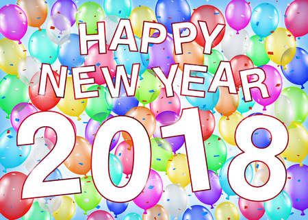 Happy New Year 2018 with balloon party background. Illustration