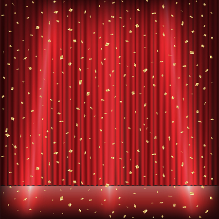 Red curtain stage with light and gold confetti. Illustration