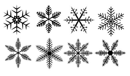 Set of silhouette snowflakes on a white background. Illustration