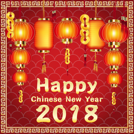 Happy Chinese New Year 2018 with Chinese lantern.