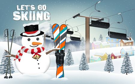 Let go skiing with snowman and ski equipment.