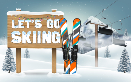 """Let's go skiing"" wood board sign and ski equipment."