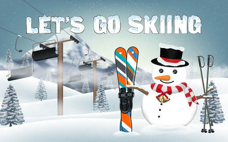 Lets go skiing with snowman and ski equipment. Illustration