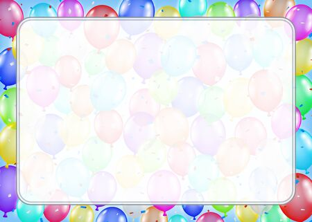 Colorful border made of balloons with space for text Illustration