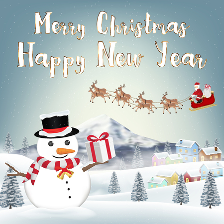 Holiday background with santa claus and snowman holding a gift box. Illustration